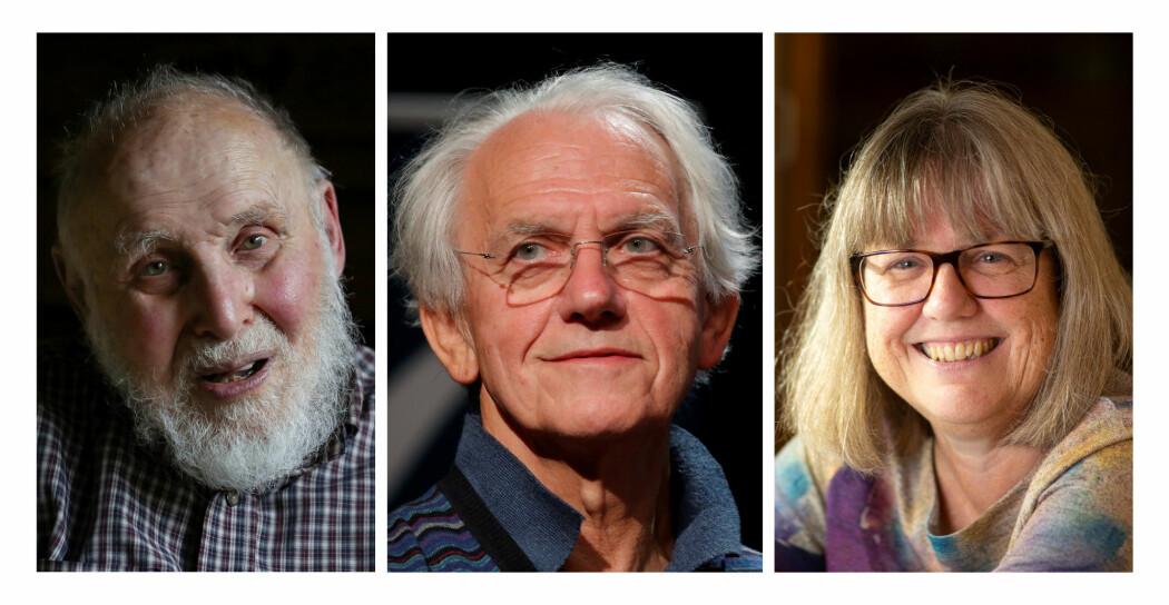 Arthur Ashkin, Gérard Mourou og Donna Strickland er årets vinnere av nobelprisen i fysikk. (Foto: Brendan McDermid / Charles Platiau / Peter Power / Reuters / NTB Scanpix)