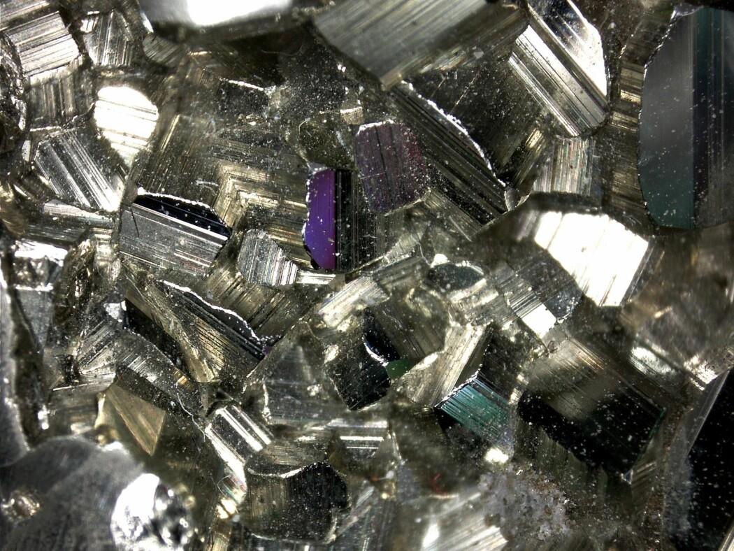 Pyritt, også kjent som svovelkis, vokser i alle retninger når den finner et hulrom. De ulike fargene skyldes lysbrytninger og har ikke noe med materialet i seg selv å gjøre. (Foto: Eivind Torgersen)