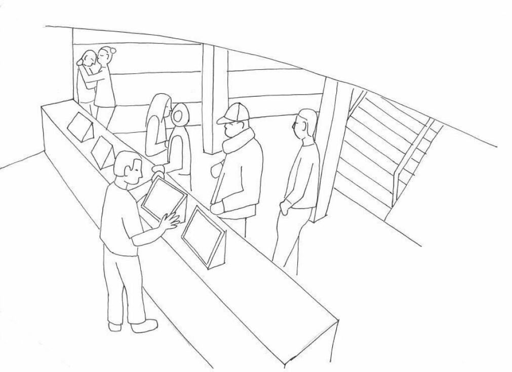 Forskerne bak konfliktatferdsanalysen har skissert bilder fra overvåkingskameraer i forbindelse med tidligere prosjekter. Her er det en skisse av en situasjon etter et væpnet ran, der medarbeideren som sto bak kassen under ranet, står til venstre i bildet og får en klem av en kollega. (Skisse: Lindegaard & Bernasco)