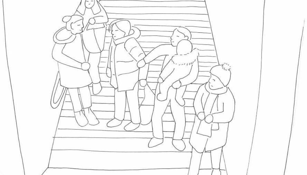Skissen fra forskernes tidligere prosjekt illustrerer hva som typisk skjer i konflikter på gaten. Personen med barnet på armen prøver å trekke av en partene vekk fra konflikten for å unngå eskalering. (Skisse: Lindegaard & Bernasco)