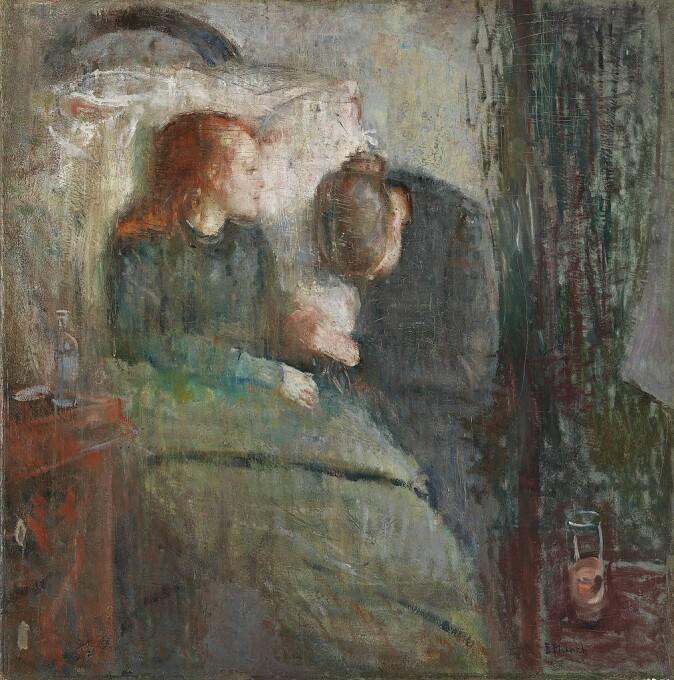 Maleren Edvard Munch tenkte kanskje på søsteren sin da han malte bildet som heter Det syke barn. Søsteren ble syk og døde da Munch var barn. (Bilde: «Det syke barn», malt i 1885-86 av Edvard Munch)