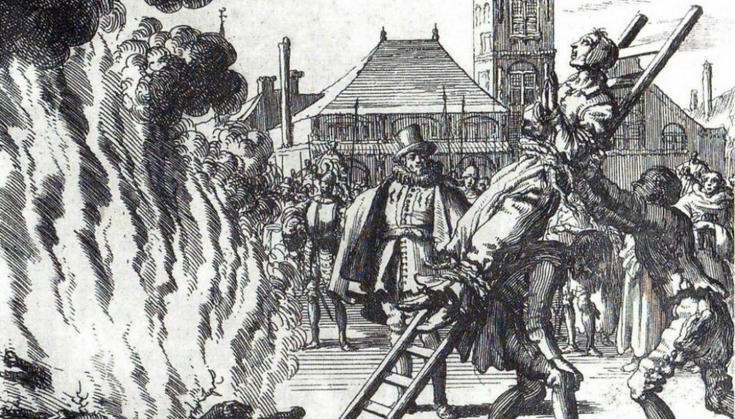 Over 300 mennesker har blitt brent på bålet i Norge fordi de har blitt dømt for å drive med trolldom. (Illustrasjon: Wikimedia Commons)