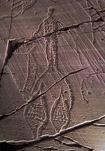 Truger er ingen ny oppfinnelse! Denne kan være så gammel som 7000 år gammel. Antakelig var truger viktig for å komme seg rundt og på jakt. Helleristningen er fra Alta. (Foto © Jan Magne Gjerde)