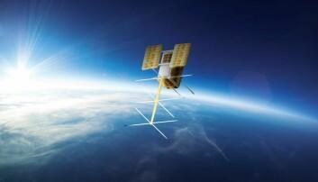 Den norske satellitten NorSat-2 veier bare 15 kilo og går for å være en småsatellitt. (Foto: Norsk Romsenter)