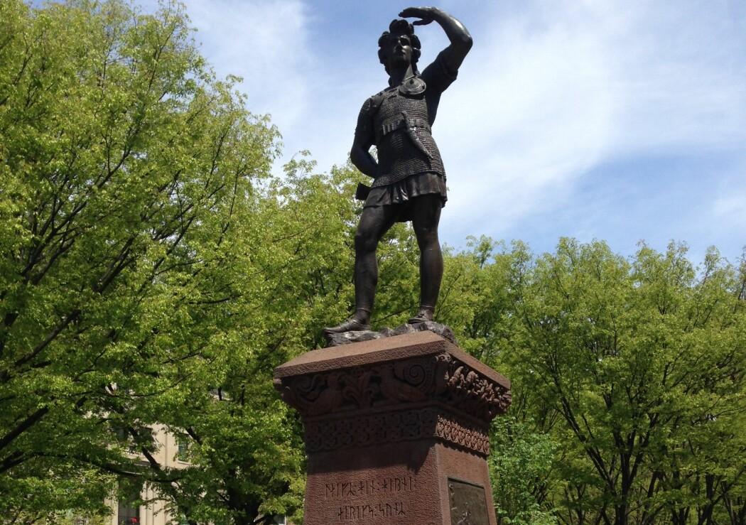 I Boston har Leiv Eiriksson sitt eget monument. Det ble reist på Commonwealth Avenue i 1887. (Foto: Torgrim Guttormsen / NIKU)