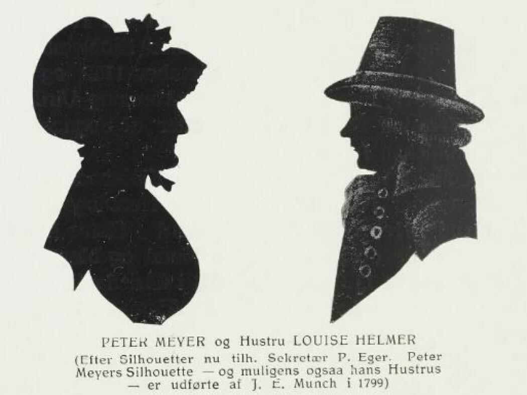 Silhuetter av Peter Meyer og Loise Helmer.