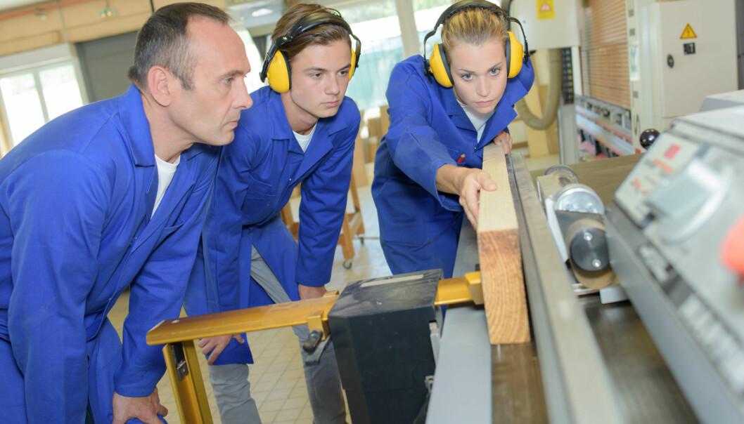 I en ny undersøkelse kommer det fram at 56 prosent av tømrerlærlinger opplever at det første året på videregående var lite relevant for lærefaget.  (Illustrasjonsfoto: Colourbox)