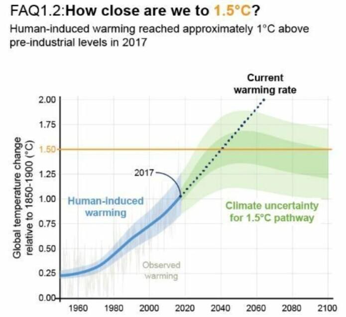 Global temperatur (fra IPCC15-rapporten)