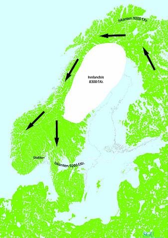 Den smeltende innlandsisen på den skandinaviske halvøy ga jeger- og sankerfolkene en mulighet til å forflytte seg vestover på 8000-tallet f.Kr. Naturforhold og gjenstandsfunn taler for at ruten gikk rundt Bottenviken og sørover på den Skandinaviske halvøy. (Kartgrunnlag: Knut Påsse, SGU)