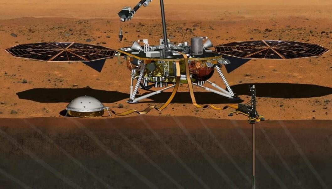 Mars InSight skal blant annet finne ut om Mars fortsatt er geologisk aktiv.  (Illustrasjon: NASA/JPL-Caltech)