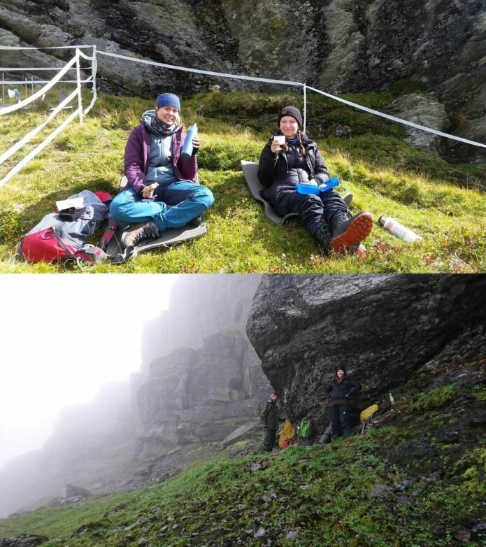 For feltbiologer gjelder det å nyte finværet så lenge det varer og ellers tåle regntunge dager i fjellet (i bildene: Silje Östman fra UiB, Eva Lieungh Eriksen fra UiO og Joachim Töpper) (Foto: Siri Lie Olsen & Ragnhild Gya)