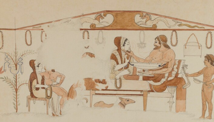 På dette bildet i De bemalte vasers grav nær Tarquinia ser vi et gravøl med en mann og en kvinne liggende til bords. Men til venstre sitter det en naken mann i fanget på en velkledd kvinne. (Bilde fra forskningsprosjektet)