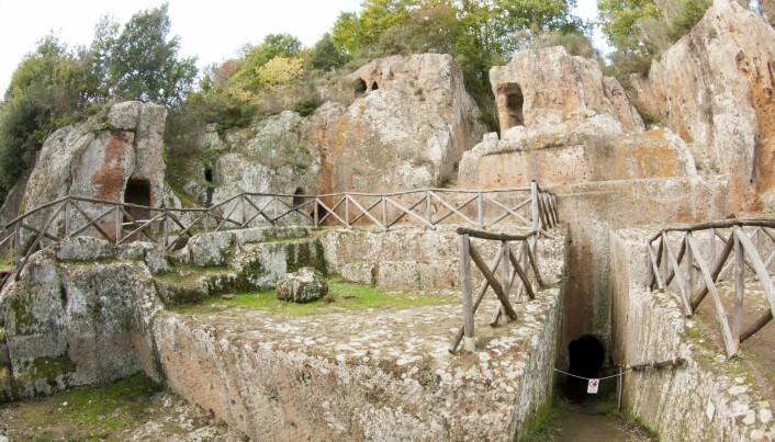 Etruskerne var en gang en mektig sivilisasjon som holdt til i midten av dagens Italia, i deler av Toscana, Umbria og Lazio. De har etterlatt seg flere nekropoliser, de dødes byer. Noen steder har gravkamrene malte bilder på veggene. (Foto: NTB/ scanpix)