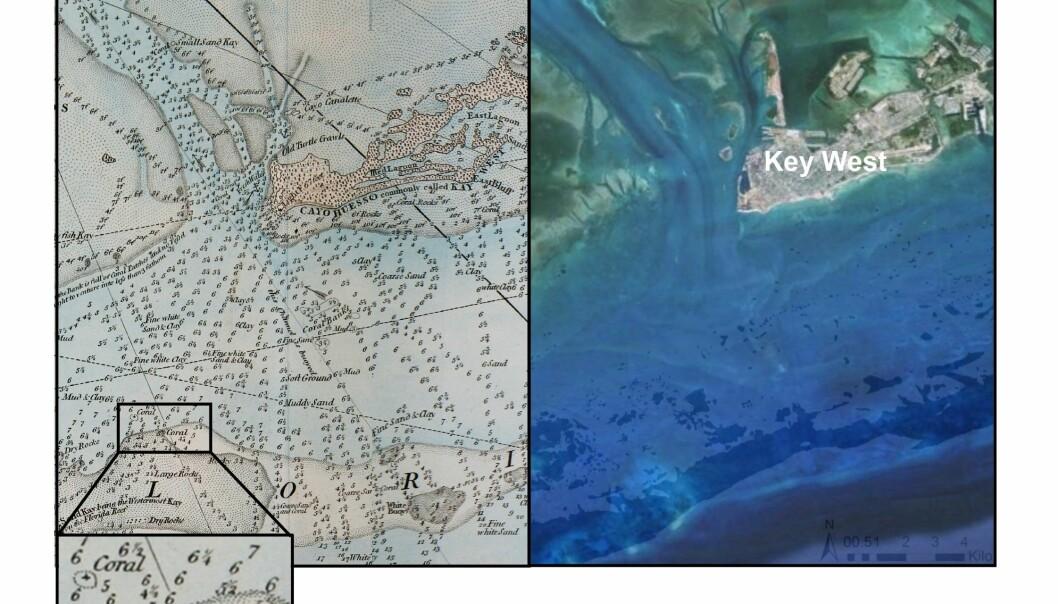 Key West i Florida den gang da i 1774 (til venstre) og nå slik det ser ut på Google Earth. (Illustrasjon: Loren McClenachan)