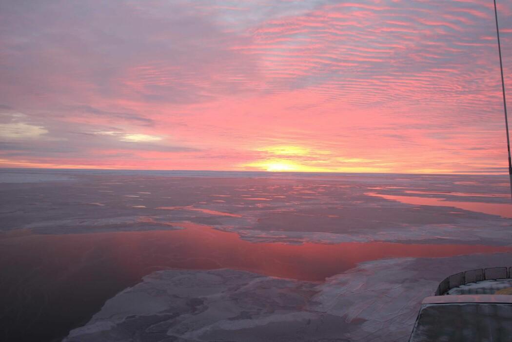 Sjøis i Nansenbassenget sett fra R/V Kronprins Haakon. (Foto: Sunniva Rutledal)