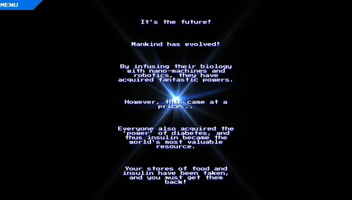 Teksten beskriver scenarioet fra spillet – en fjern fremtid hvor alle har fått diabetes. (Skjermdump fra Diabetes-spillet)