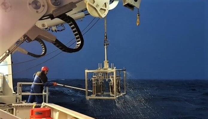 Multicorer som dukker opp fra havets dyp med sedimentkjerner. (Foto: Marianne Kjøller)