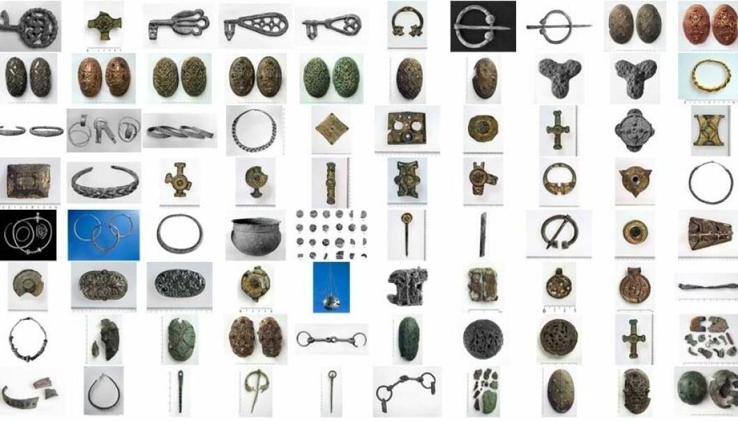 Kvinnesmykke og beslag frå vikingtida er blant tinga som er vekke frå Dei kulturhistoriske samlingar ved Universitetet i Bergen. (Montasje: På Høyden)