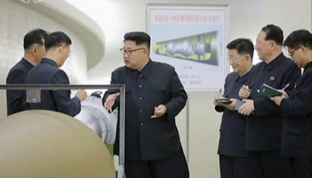 Søndag detonerte Nord-Korea en svært kraftig kjernefysisk sprengladning. Regimet i landet hevder det var en hydrogenbombe som ble testet. (Foto: KRT via AP, NTB scanpix)