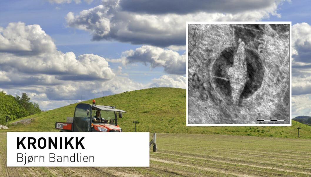 Mandag 15. oktober ble det annonsert at det som ser ut som et vikingskip er funnet på Jellestad i Halden. (Foto: Foto: Lars Gustavsen / NIKU)
