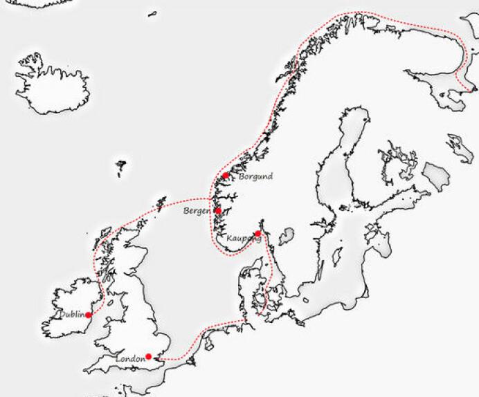 Kartet viser vikingane sine ruter. Ottar frå Hålogaland var ein mektig mann, og eigde land heilt til det som i dag er Finnmark. Han krevde inn skatt frå samane - i form av skinn. Reinsskinn er difor òg blant det som er funne i Irland, det har nok vore ein form for valuta. (Foto: Frå utstillinga/Universitetsmuseet)