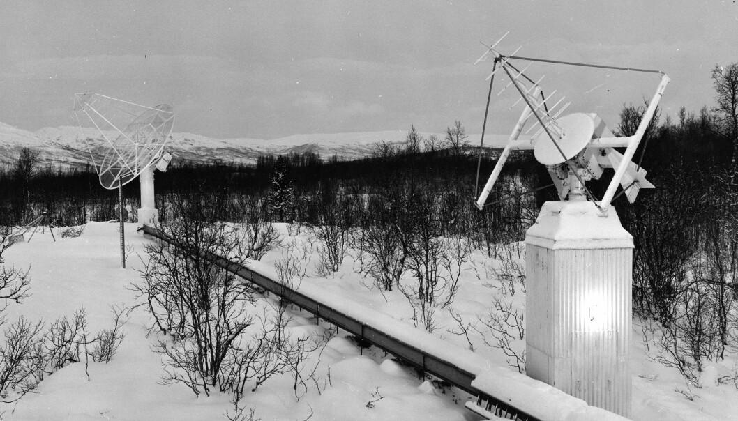 Antenner for mottak og sending ved Tromsø Telemetristasjon i 1967. (Foto: KSAT)