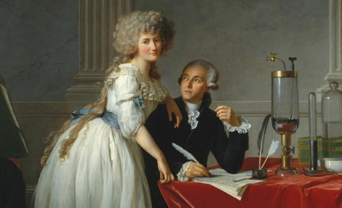 Kjemikerne Antoine Lavoisier og Marie-Anne Pierrette Paulze var gift. Sammen gjorde de et eksperiment som endret kjemien for alltid. (Maleri: Jacques-Louis David)