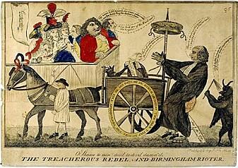 Predikanten Priestley var en upopulær mann, og et yndet mål for landets karikatur-tegnere. Her blir han omtalt som «den forræderske rebell», mens djevelen pisker ham (Illustrasjon: ukjent)