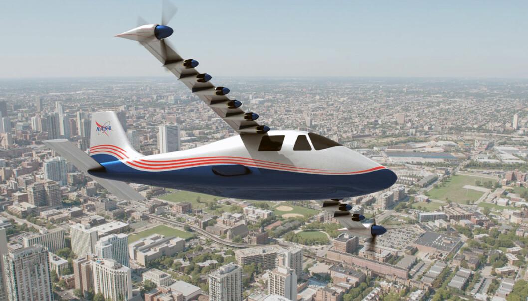 NASA utvikler et elektrisk fly basert på skroget til det firesetsers italienske Tecnam P2006T, drevet av to stempelmotorer på bensin. Fordelen med å bruke et kjent skrog er at ytelsene kan sammenlignes direkte mellom elektrisk drift og bensinmotorer. Også den europeiske produsenten Airbus utvikler elektriske fly. Målet er å få det første elektriske passasjerflyene på vingene i løpet av ti til 15 år. (Illustrasjon: NASA Langley/Advanced Concepts Lab, AMA, Inc.)