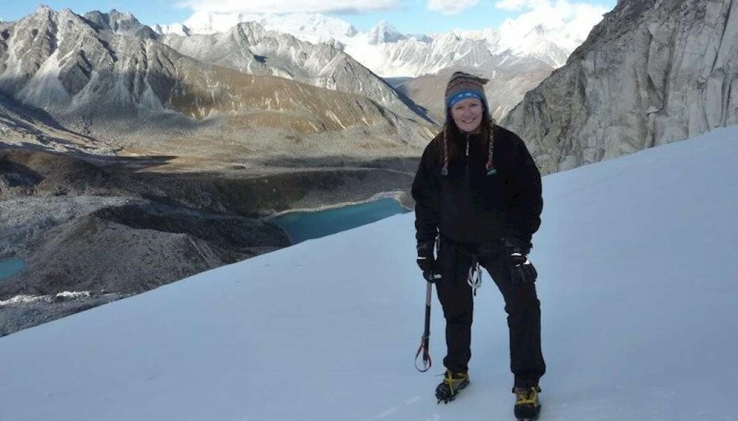 Forsker og glasiolog Miriam Jackson i Bhutan. (Foto: NVE)