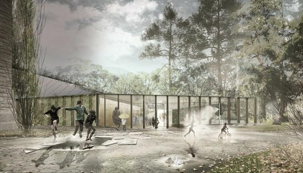 Lund Hagem, Atelier Oslo og Expology vant Arkitekt- og utstillingsdesignkonkurransen. Torsdag åpnet en utendørs utstilling om det kommende klimahuset i Botanisk hage. (Illustrasjon: Lund Hagem)
