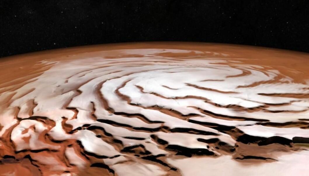 Nordpolen på Mars er dekket av is. Hvis snøen faller her, blir den liggende.  (Foto: ESA/DLR/FU Berlin; NASA MGS MOLA Science Team)