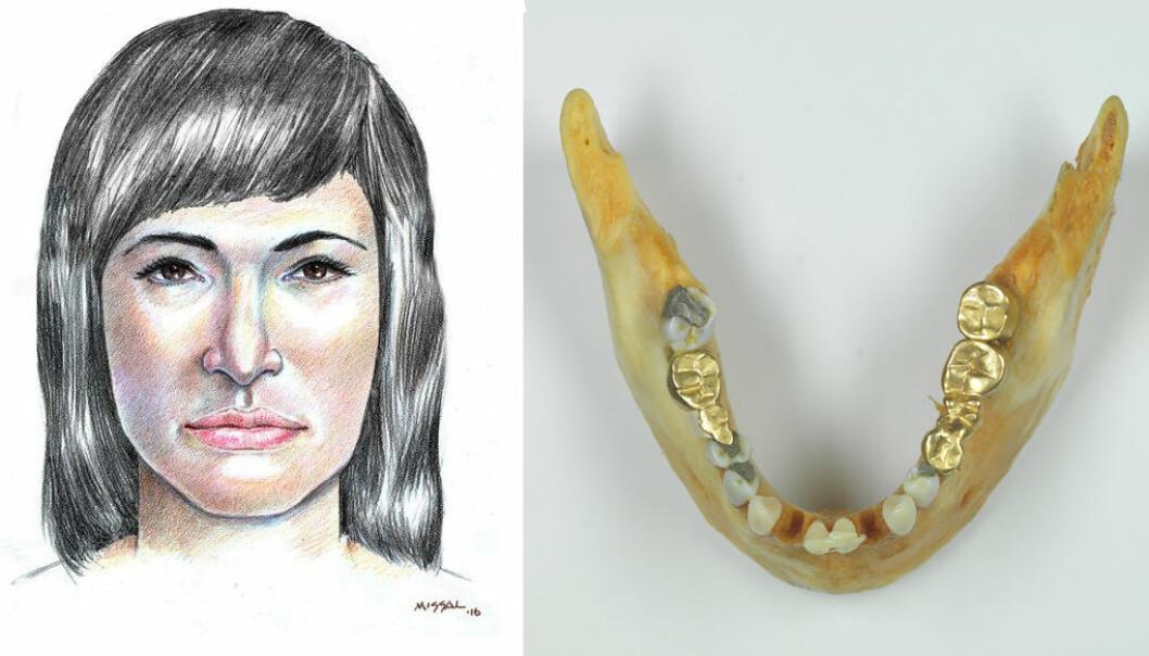 Kvinnen som ble funnet i Isdalen utenfor Bergen i 1970 – tegnet av Stephen Missal for NRK. Hun hadde fått utført mye arbeid på tenne, blant annet gullbroer. (Foto: Kripos)