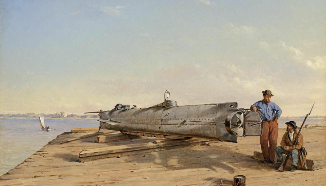 H. L. Hunley, malt i 1863. Ubåten var 12 meter lang og bare 1,2 meter bred på det tykkeste. Likevel tok den altså et mannskapet på åtte - en til å styre og resten til å operere håndsveivene som drev fartøyet framover.  (Malt av Conrad Wise Chapman)