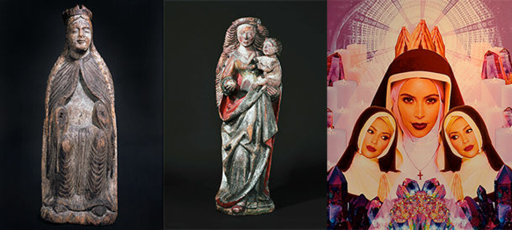 I tidlig kristen tid var jomfru Maria den opphøyede, mektige og rike Madonna, som i Nykirke i Vestfold. I Middelalderen bar omsorgspersonen Maria Jesus-barnet på armen i Lisleherad kirke i Telemark. I dag blir TV-stjernen Kim Kardashian portrettert som den sexy Maria. (Foto: Kulturhistorisk museum, UiO og Hannah Kunkle/Flickr CC BY 2.0)