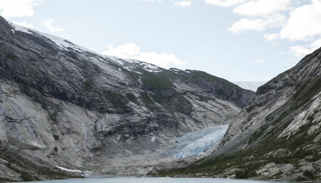 Nigardsbreen er en brearm av Jostedalsbreen. Dette bildet er tatt i 2015. I sommer har frontdelen av breen trukket seg tilbake 80 meter. (Foto: Berit Roald / NTB scanpix)