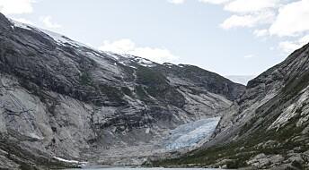 Nigardsbreen i Jostedalen har trukket seg 80 meter tilbake