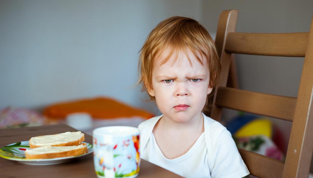 Barn skal aldri tvinges til å spise, men sterk oppfordring om å smake må ofte til.  – Det er lov å spytte ut og det er lov å bli sint eller lei seg, men man må smake, sier forsker. (Illustrasjonsfoto: mamaza / Shutterstock / NTB scanpix)