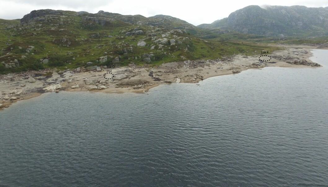 Arkeologer har gjort flere undersøkelser ved Stora Myrvatn. I sommer fant de en ny boplass fra steinalderen. (Foto: Arkeologisk museum, Universitetet i Stavanger)