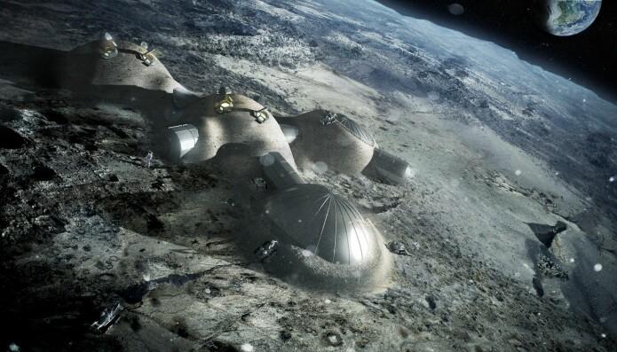 Slik kan en månebase se ut. (Grafikk: ESA/Foster & Partners)