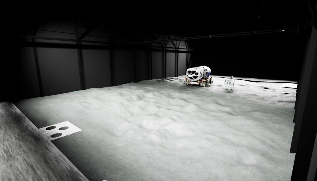 Romorganisasjonen ESA skal lage et tusen kvadratmeter stort område som etterligner forholdene på månen. Da kan de teste forskning og teknologi som skal brukes i framtidige romferder til månen. (Grafikk: ESA)