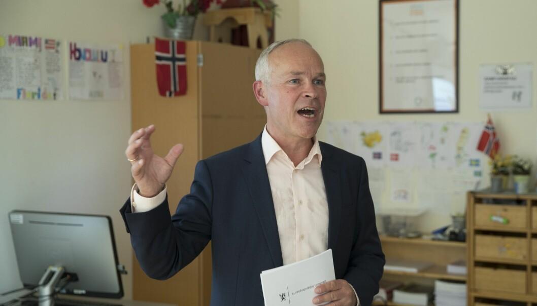 Kunnskaps- og integreringsminister Jan Tore Sanner sier han håper flere vil velge yrkesfag. (Foto: Vidar Ruud / NTB scanpix)