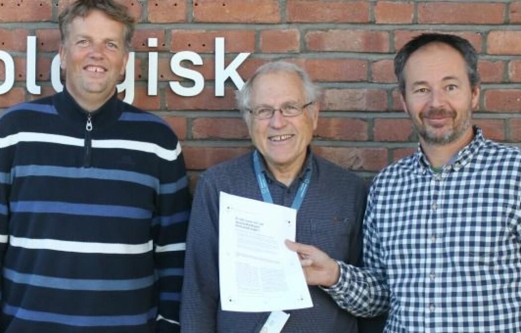 Hans Olav Hygen, Øyvind Nordli og Rasmus Benestad fra Meteorologisk institutt. (Foto: Ingeborg Rian Julsrud)