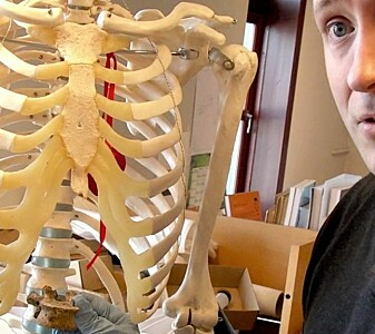 Sean Denham er bein-arkeolog. Han synes det firkantede hullet er rart. (Foto: Bjørnar Kjensli)