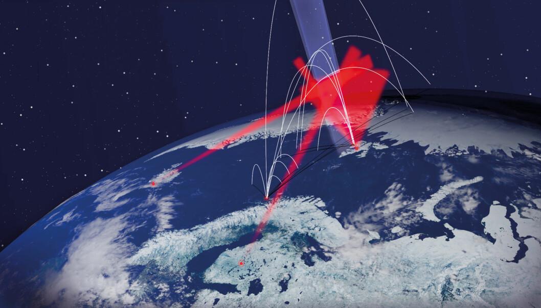 De hvite strekene viser banene til de elleve forskningsrakettene. De røde feltene er målinger fra bakken. Det blå feltet er den spesielle delen av atmosfæren som skal studeres. (Illustrasjon: Andøya Space Centre)