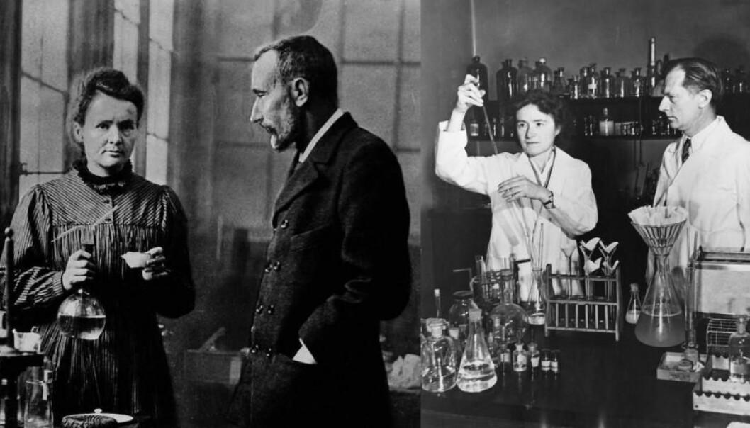 Til venstre ekteparet Marie og Pierre Curie. Til høyre ekteparet Gerty Theresa og Carl Ferdinand Cori. Begge parene har mottatt felles nobelpriser – Marie Curie mottok dessuten nobelprisen i kjemi i 1911. (Foto: Wikimedia Commons/Smithsonian Institution)