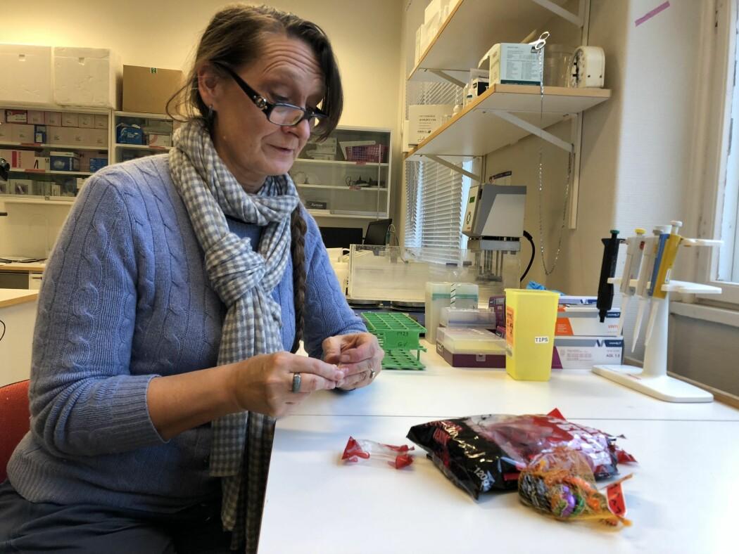 Tove Devold er godt kjent med e-stoffer. Hun er mer bekymret for sukkeret, ikke e-stoffene, i godteriet. (Foto: Morten Nordahl Ellingsen/NMBU)