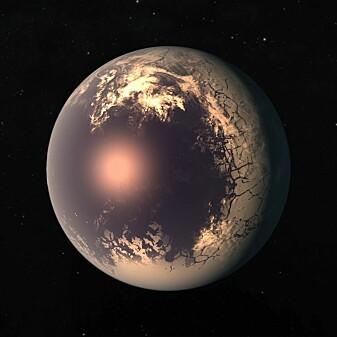 Trappist-1f er en av de mest jordliknende planetene som har blitt funnet. (Illustrasjon: NASA/JPL-Caltech)