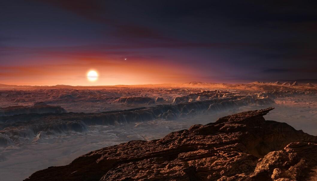 Slik kan det se ut på Proxima Centauri b, den nærmeste jordliknende planeten som har blitt funnet. (Illustrasjon: ESO/M. Kornesser)