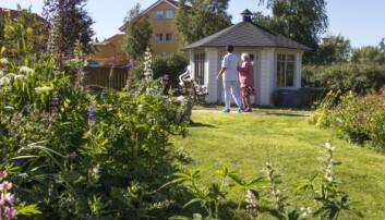 Ved å dele opplevelser i sansehagen kan pleier og pasient få bedre kontakt.  (Foto: Svein-Arnt Eriksen)